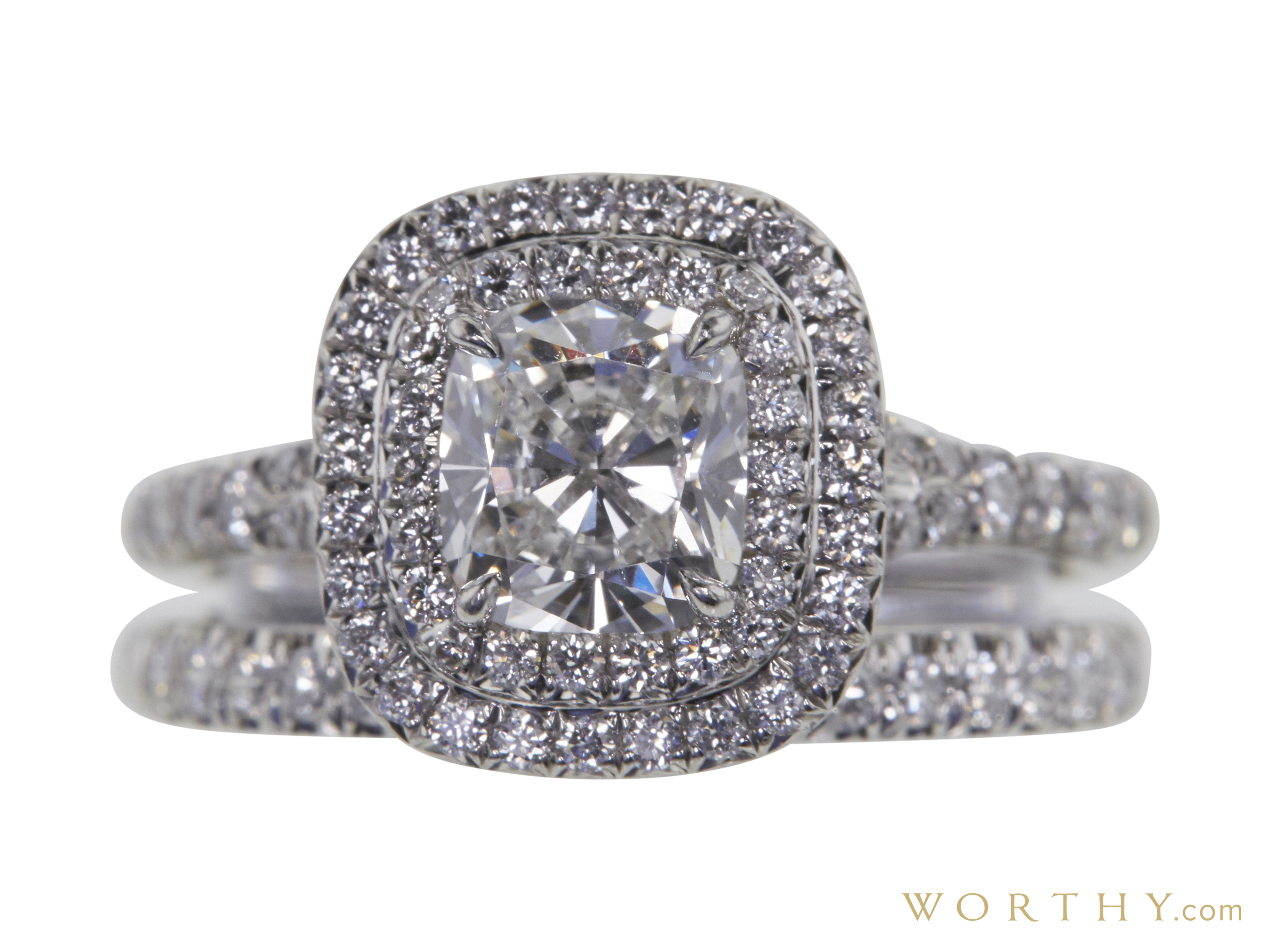 1 0 Ct Cushion Cut Double Halo Diamond Engagement Ring Sold 5390