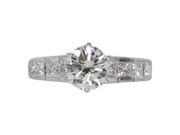 GIA 1.19 CT Round Cut Bridal Set Ring, I, VS2