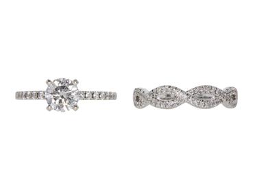 GIA 0.90 CT Round Cut Bridal Set Ring, G, VS2