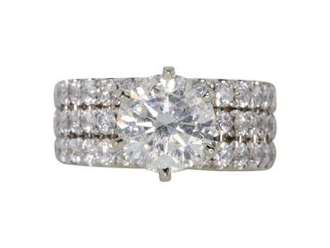 Clarity Enhanced 2.69 CT Round Cut Bridal Set Ring, J, I2