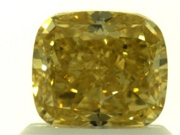 GIA 1.03 CT Cushion Modified Loose Diamond, Fancy Vivid Yellow, SI1