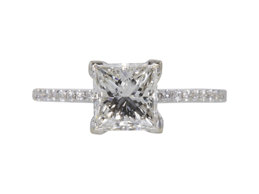 GIA 1.77 CT Princess Cut Solitaire Ring, H, I1