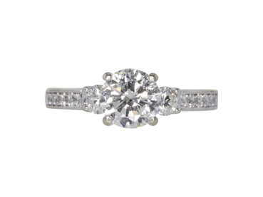 GIA 1.2 CT Round Cut Solitaire Ring, F, I1