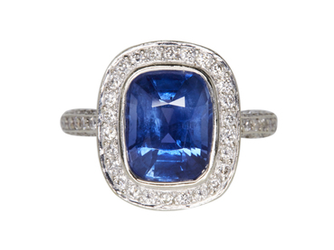 2.95 CT Cushion Cut Halo Ring, Blue, Moderately Included