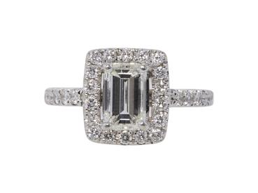 1.49 CT Emerald Cut Halo Ring, G-H, VS2-SI1