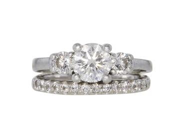 GIA 1.07 CT Round Cut Bridal Set Ring, G, SI2
