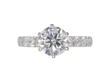 GIA 2.02 CT Round Cut Solitaire Ring, H, SI2