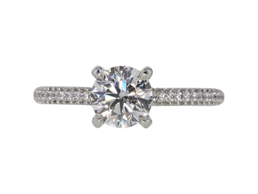 GIA 1.29 CT Round Cut Solitaire Ring, H, IF