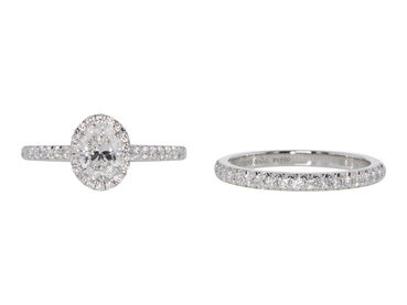 0.64 CT Oval Cut Bridal Set Tiffany & Co. Ring, F, VVS2
