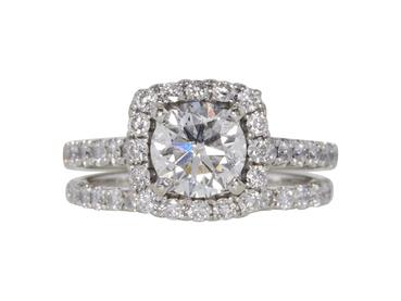 GIA 1.01 CT Round Cut Bridal Set Ring, E, SI2