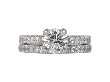 GIA 1.07 CT Round Cut Bridal Set Ring, F, VS1