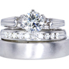 1.08 ct. Round Cut Bridal Set Ring, K, I2 #1