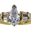Art Deco GIA 1.09 ct. Pear Cut Bridal Set Ring, F, SI2 #4