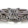 Antique GIA 1.46 ct. Princess Cut Bridal Set Ring #1
