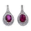 Oval Cut Drop Earrings, Red, I2-I3 #2