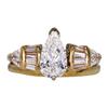 Art Deco GIA 1.09 ct. Pear Cut Bridal Set Ring, F, SI2 #3