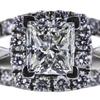 1.02 ct. Princess Cut Halo Ring, J, SI1 #4