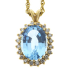 12.82 ct. Oval Cut Pendant Necklace, Blue, SI2 #1