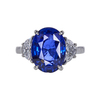 Antique 5.11 ct. Oval Cut 3 Stone Ring, Blue, SI1-SI2 #1
