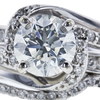 0.91 ct. Round Cut Bridal Set Ring, J, SI2 #4