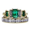 Emerald Cut Bridal Set Ring, Green, VS1-VS2 #2