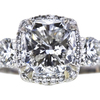 3.05 ct. Cushion Cut 3 Stone Ring, G, SI2 #4