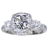 3.05 ct. Cushion Cut 3 Stone Ring, G, SI2 #3