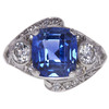 No Heat Natural Sapphire 5.95 ct. Cushion Cut Ring, Blue, Moderately Included #1