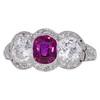 Antique Edwardian Cushion Cut Ruby & Diamond 3 Stone 14k  Ring #1