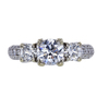 1.01 ct. Round Cut 3 Stone Ring, D, SI2 #2