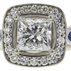 1.0 ct. Princess Cut Halo Ring, F, I1 #4