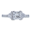 0.98 ct. Princess Cut 3 Stone Ring, E, SI2 #3