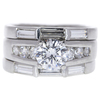 1.04 ct. Round Cut Bridal Set Ring, E, I1 #3