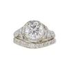 1.76 ct. Round Cut Bridal Set Ring, F, I1 #3