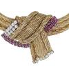 Ladies Ruby & Diamond Three Strand woven 14K Yellow Gold Necklace #2