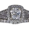 1.02 ct. Cushion Cut Bridal Set Ring, G, SI2 #3