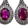 Oval Cut Drop Earrings, Red, I2-I3 #1