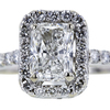 1.00 ct. Radiant Cut Halo Ring, G, SI2 #4