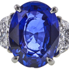 Antique 5.11 ct. Oval Cut 3 Stone Ring, Blue, SI1-SI2 #2