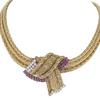 Ladies Ruby & Diamond Three Strand woven 14K Yellow Gold Necklace #1