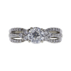 0.99 ct. Round Modified Brilliant Cut Bridal Set Ring, G, SI2 #3