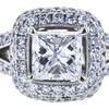 0.96 ct. Princess Cut Bridal Set Ring, G-H, SI1-SI2 #1