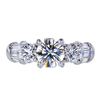 1.02 ct. Round Modified Brilliant Cut 3 Stone Ring, I, VS2 #1